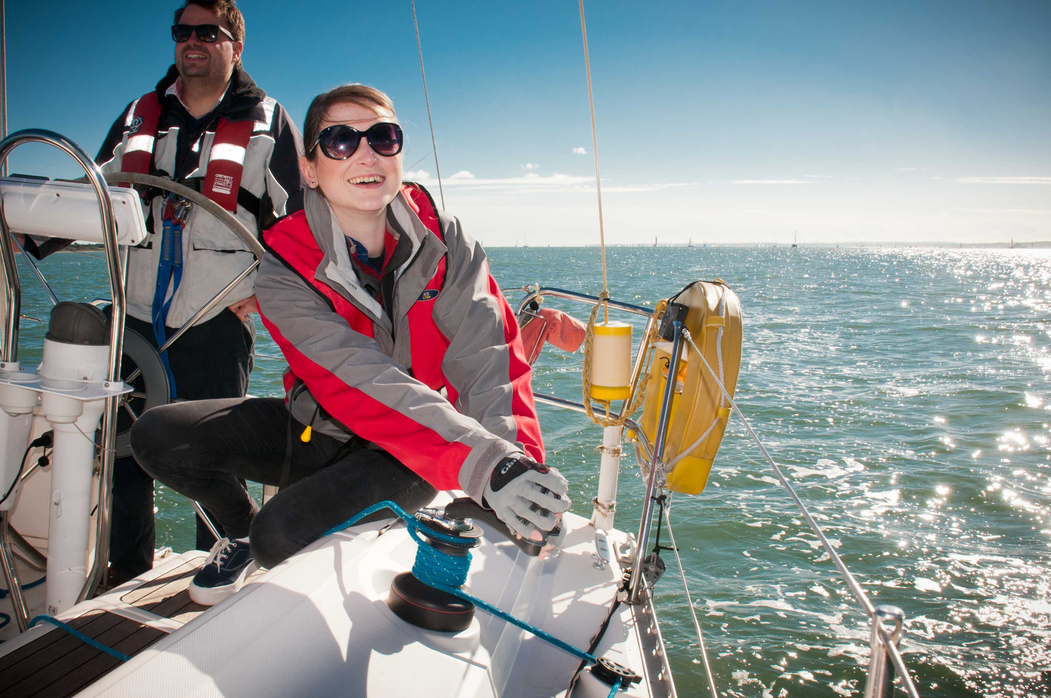 Girl Action Sailing in the Solent