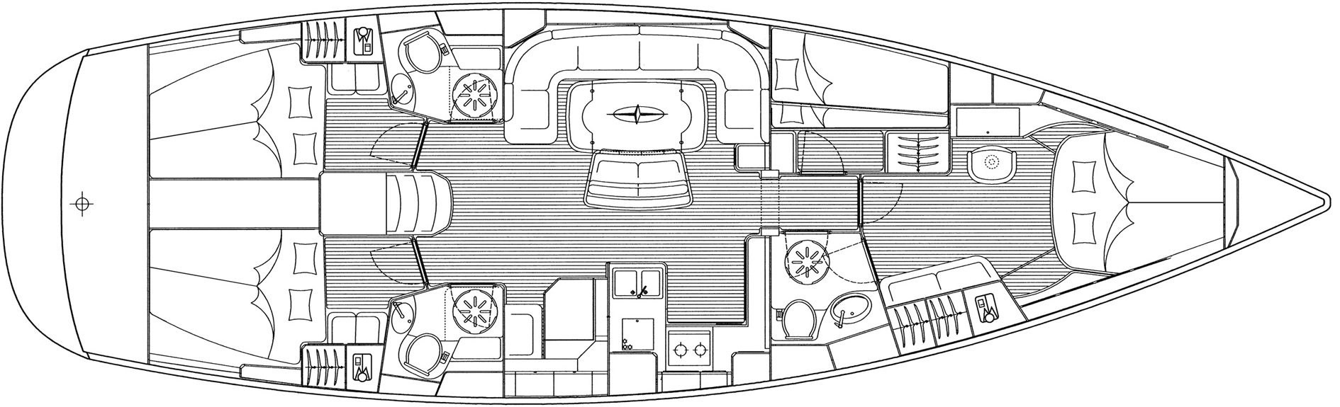 Plan of a bareboat yacht charter being used for accommodation in venice at christmas