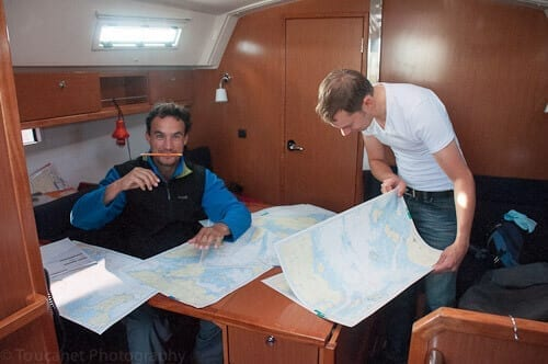 Navigating on a sailing trip