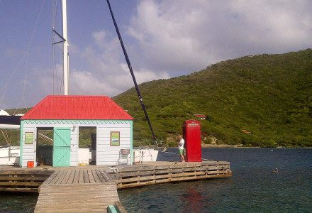 The famous telephone box in Marina quay in the British virgin islands