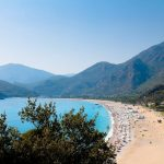 view looking down on a beach in turkey