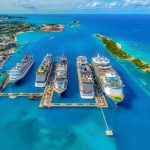 view of cruise ships and the island on a bahamas yacht charter