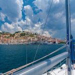 View from a yacht charter boat in Croatia