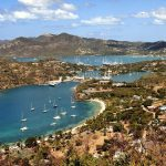 view of a harbour on an Antigua yacht charter