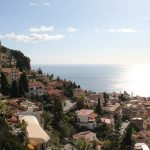 view over a town on a luxury mediterranean yacht charter