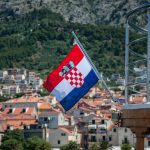 view of a croatia flag with colorful houses