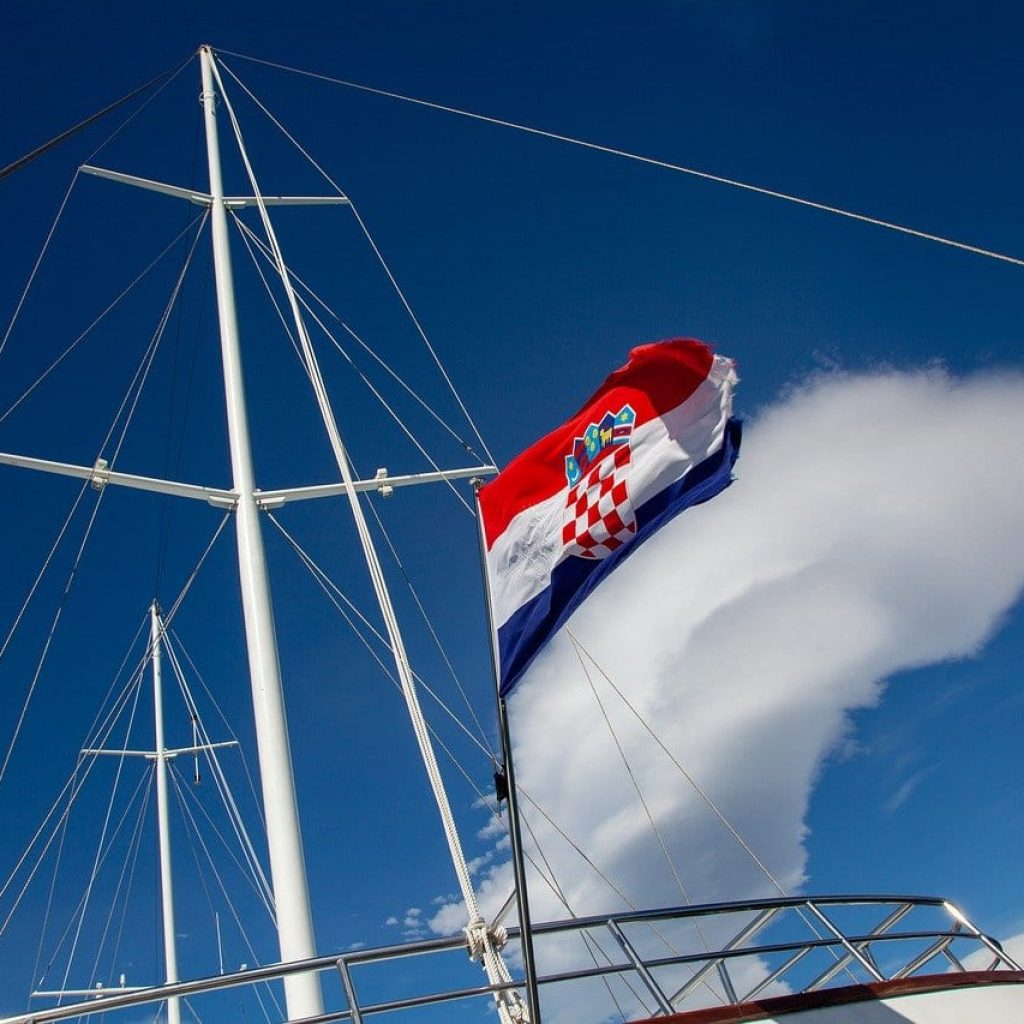 croatia flag on a yacht