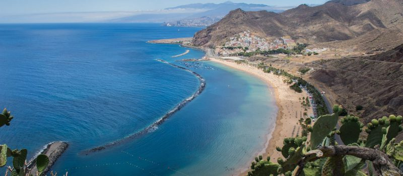 view of a beach and the coastline on a Tenerife sailing itinerary